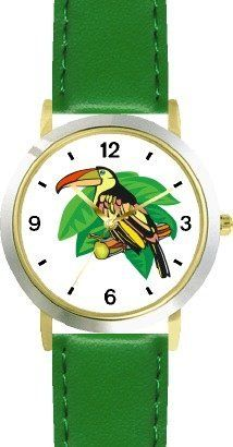 Toucan Bird Animal - WATCHBUDDY® DELUXE TWO-TONE THEME WATCH - Arabic Numbers - Green Leather Strap-Size-Children's Size-Small ( Boy's Size & Girl's Size ) WatchBuddy. $49.95