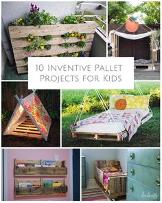 Creative ideas to make cool things for kids using wooden pallets.