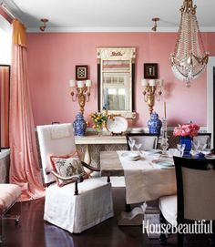 The cheery hue creates the perfect environment for entertaining.   - HouseBeautiful.com House Beautiful, Beautiful Homes, Beautiful Wall, Beautiful Interiors, Jane Austen, Rose Quartz, Pink Dining Rooms, Dining Room Colors, Dining Room Lighting