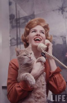 """electronicsquid: """" Pioneering spokesmodel Julia Meade with annoyed cat (Yale…"""