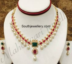 Ruby Emerald Cz Necklace photo