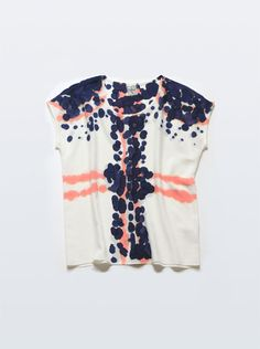 I love this silk tee. The coral and blue organic dot pattern is awesome