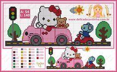 Gráfico Ponto Cruz Hello Kitty no Carrinho