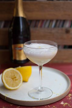 The Sorbetto Fizz cocktail is a perfect palate cleanser to serve between courses at your next dinner party. Start with lemon sorbet, add white vermouth, finish with Prosecco, garnish with some freshly grated lemon zest. So Italian and so delicious