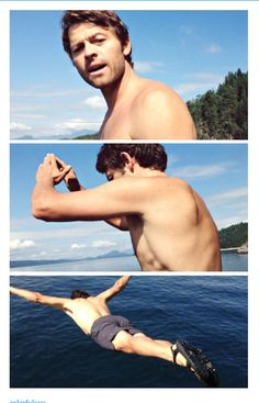 WOW!! #Misha Collins #shirtless #diving