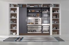 The world class quality of Pedini kitchens and modern cabinets comes to Miami, bringing contemporary kitchen designs, custom closets, and bathrooms Kitchen Pantry Design, Modern Kitchen Cabinets, Interior Design Kitchen, Kitchen Furniture, Kitchen Storage, Furniture Design, Navy Kitchen, Kitchen Layouts, Kitchen Modern