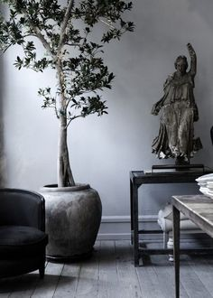 An aged statue on a black table beside a large tree in a clay pot in a room with layers of gray and black tones - Home Decor Details
