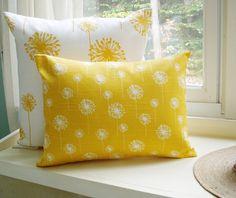 Yellow Pillow Cover Lumbar Dandelion 12x16 Decorative Throw Pillow. $16.00, via Etsy.