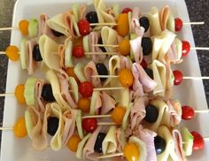 Sandwich Skewers- ham, olives, tomatoes, cheese, cucumber...