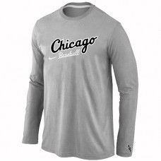 Wholesale Men Chicago White Sox Authentic Team Name Long Sleeve Grey T-Shirt_Chicago White Sox T-Shirt