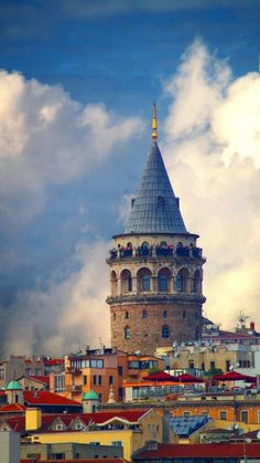 The Galata Tower in Istanbul, Turkey. The medieval stone tower is in the Galata/Karaköy quarter of Istanbul, and is one of the city's most striking landmarks. Places Around The World, Travel Around The World, Around The Worlds, Places To Travel, Places To See, Travel Destinations, Antalya, Wonderful Places, Beautiful Places