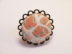 bague rétro fleur rose pastel vert ronde pate polymère support bronze : Bague par commeparenchantement