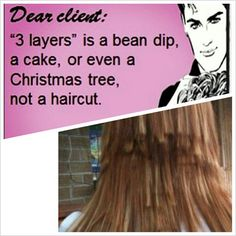 LOL!!! As a professional cosmetologist, i can't begin to say how many times I get clients (stupid teenagers mostly) asking for two or three layers in their hair. I wish i could post this in the shop. :)