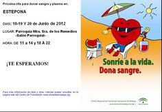 Campaña para donar sangre en Estepona del 18 al 20 de junio en el salón parroquial de la Iglesia del Carmen.