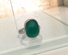 Natural Green Chalcedony and Sterling Silver Stacking Ring by Jewelriart on Etsy https://www.etsy.com/listing/265451416/natural-green-chalcedony-and-sterling