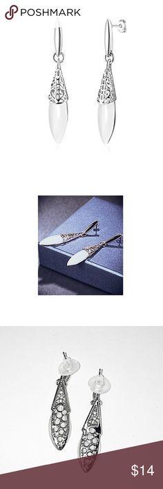 Faux Opal Stone Platinum Plated Drop Earrings NWT Faux Opal Stone Platinum Plated Drop Earrings NWT Jewelry Earrings