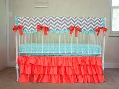 Bumperless Gray Chevron, Coral, and Mint Designer Fabric Baby Girl Crib Cot Bedding Set with Crib Rail Guard / Rail Cover
