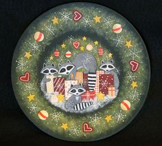 Placa de madera de arte popular de Navidad por RavensBendFolkArt