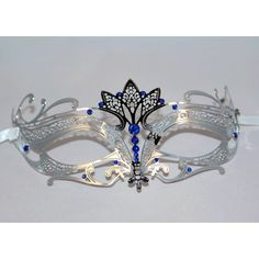 Silver Tiara Design Laser Cut Metal Masquerade Mask with Blue Diamonds Laser Cut Metal, Laser Cutting, Silver Tiara, Prim Decor, Blue And Silver, Masquerade, Blue Diamonds, Engagement Rings, Venetian