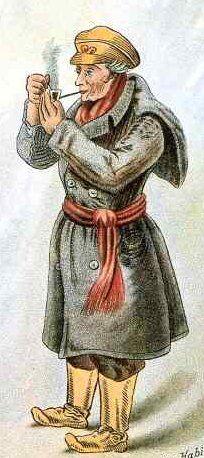 This was the historic dress for the Québécois during the winter: the coat is called a capot (or capote - spellings vary), the sash is often a ceinture fléchée and the shoes are called bottes sauvages (since they are longer versions of moccasins).  Hints of this style of dress can still be seen on Bonhomme, the mascot of the annual winter carnival in Quebec City.