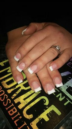 Pink and white french tip sculpted acrylic