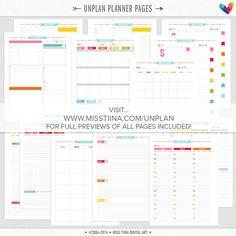 H UNplan Planner Page Printables PDF 5.5 x 8.5 HALF by MissTiina