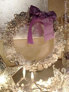gorgeous wreath made from vintage rhinestone pins.