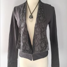 Stella Star - Gray Jacket with Lace - Size Small Stella Star brand jacket. Gunmetal Gray. Size Small. Has lace collar and three clasps at the bottom to hold the jacket closed. In great condition. Shoulder to bottom hem measures 21 inches. Sleeve length 24 inches. Stella Star Jackets & Coats Blazers