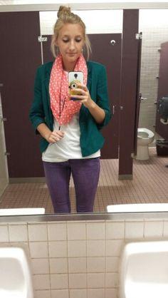 #ootd purple skinnies. Teal blazer. White tshirt. Pink scarf.