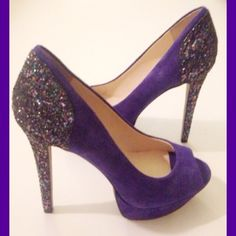 IEC BOUTIQUE 9 SUEDE BLUE PURPLE PUMPS Size 7 Only worn twice at a wedding. So chic and all glitter detailing and suede in like new condition. Size 7. Boutique 9 Shoes