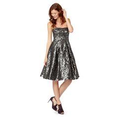 Debut Black jacquard floral bandeau prom dress- at Debenhams.com
