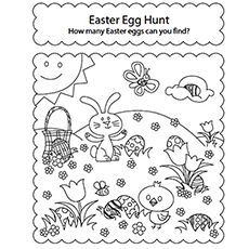 Easter Egg Hunt Picture Coloring Page Easter Coloring Pages