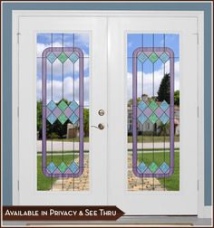 Cambridge III Door Panel (Privacy or See-Thru) - These fresh and elegant soft shades combine for universal charm. Stained Glass Window Clings, Stained Glass Door, Stained Glass Designs, Leaded Glass, Glass Doors, Panel Doors, Windows And Doors, Large Windows, Window Films