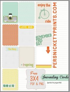 """Planner & Journaling Printables ❤ FREEBIE: Project Life Journaling Cards"""" by Persnickety Prints Project Life Free, Project Life Cards, Project 365, Papel Scrapbook, Scrapbook Pages, Scrapbook Photos, Ideas Scrap, Project Life Scrapbook, Printable Paper"""