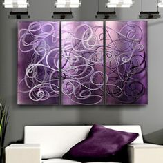 """Modern Abstract Painting Metal Wall Art Sculpture Original """"Purple Passion""""  -  Just bought this!  I can't wait to hang it up"""