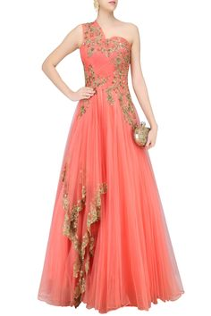 Wine floral zardozi and sequins embroidered one shoulder flared gown available only at Pernia's Pop Up Shop.