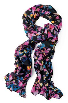 Stella  Dot Black  Colorful Butterfly   Union Square Scarf - Mariposa