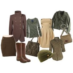Fall trend-military, created by farmerstrophywife on Polyvore