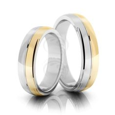 Two Tone 10k White-yellow Gold Polish Dome Ladies And Mens Wedding Rings 5mm 02118