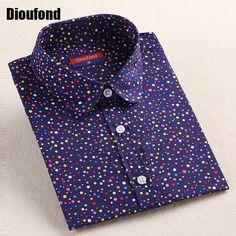 Dioufond 2016 패션 폴카 도트 블라우스 긴 소매 셔츠 여성 블라우스 여성 셔츠 레드 블루 도트 최고 Blusas 여성 탑