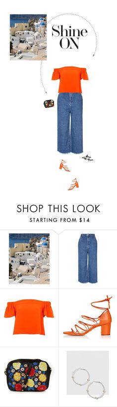 """""""Orange Bardot Top & Blue Raw Hem Culottes."""" by xabbielou ❤ liked on Polyvore featuring Topshop"""