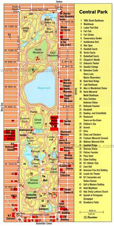 New York - Central Park Printable Map Central Park Map, New York Central, Voyage Usa, Voyage New York, New York City Vacation, New York City Travel, Map Of New York City, Vacation Places, New York Trip
