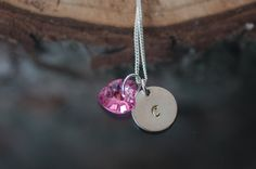 1st ANNIVERSARY GIFT IDEA   Personalized Birthday Gift for Her Hand Stamped by UniqStampGifts #jewelry #jewellery #gift #heart #pendant #necklace #romantic #swarovski #silver #personalized #initial #monogram #handstamped #stamped  #anniversary #bridesmaid #bridal
