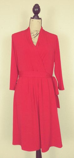 Liz Claiborne Faux Wrap Pleat Front Tie Waist Stretch Dress sz L #LizClaiborne #StretchBodycon #CareerFestiveEvening