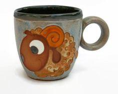Sheep Pottery Mug, Ceramics and Pottery, Ceramic Cup, Coffee Mug, Pottery Teacup, Handmade, Funny Cup, Mug, Cups, Handpainted, Sheep Mugs