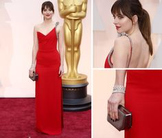 details of Dakota Johnson's oscar 2015 look, Beautifully shaped red gown with even more beautiful ornament shoulder detail, perfectly accessorised,elegant, beautiful, comfy and one of the best.