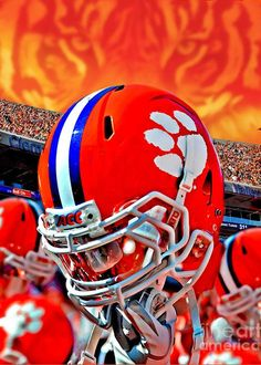 """Lots of PRIDE! Clemson Tigers """"Tiger Pride"""" by Jeff McJunkin - Art Print - Clemson Tigers Football by ReflectionOfTheSouth on Etsy Clemson Football, College Football Teams, Football Art, Clemson Tigers, Football Helmets, Football Stadiums, Tiger Love, Tiger Paw, Sports Art"""