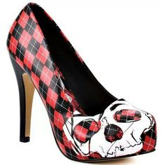 Black/Red checkered skull