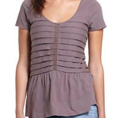 "Anthro ""Stacked Pleats Peplum"" Lovely little tee by Ric Rac. Super comfy. Great for layering. Perfect with jeans or khakis. Light eggplant color. Great condition. Price firm. No trades or PayPal. Anthropologie Tops"