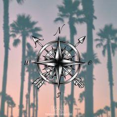 Compass arrows custom tattoo design / available on Skinque.com